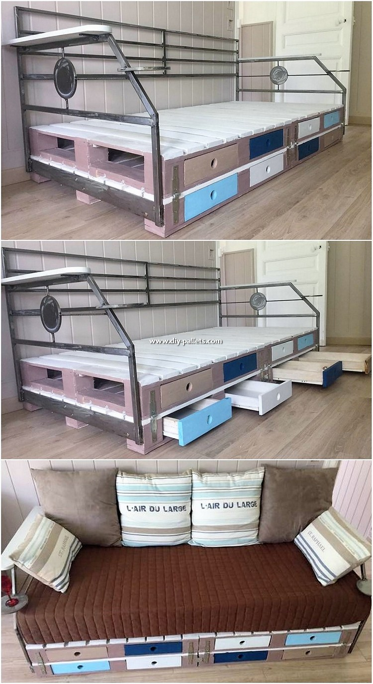 Pallet Cum Bed with Drawers