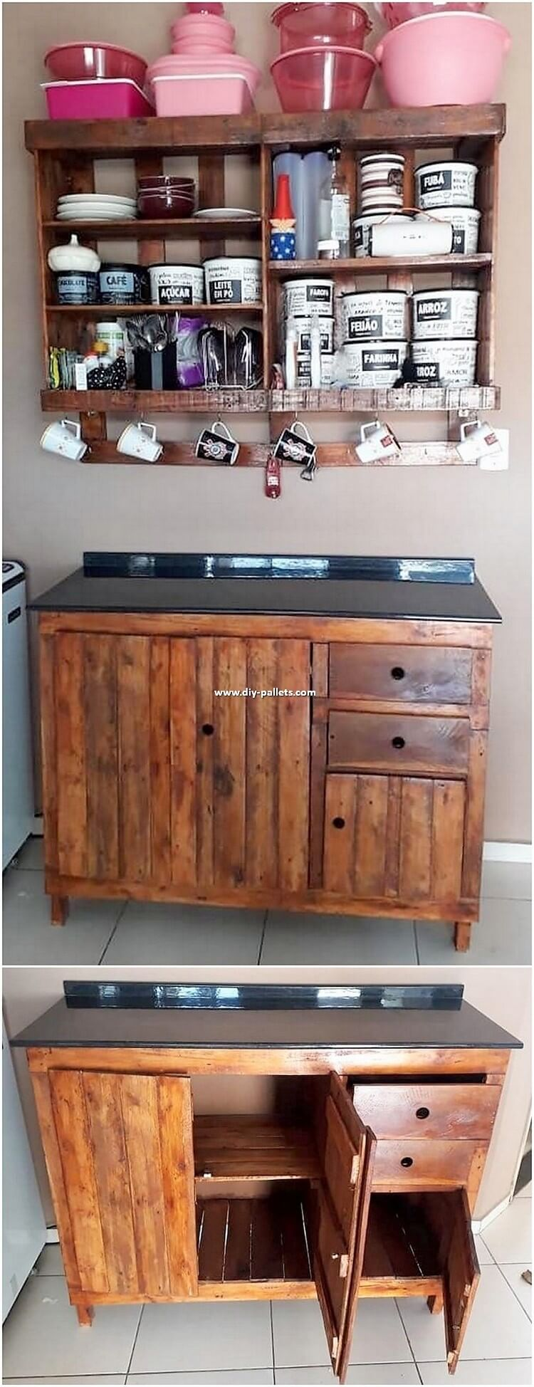Pallet Cup Holder and Cabinet