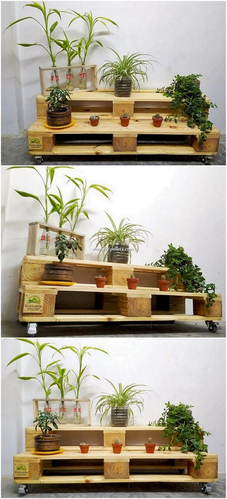Pallet Pots Stand on Wheels