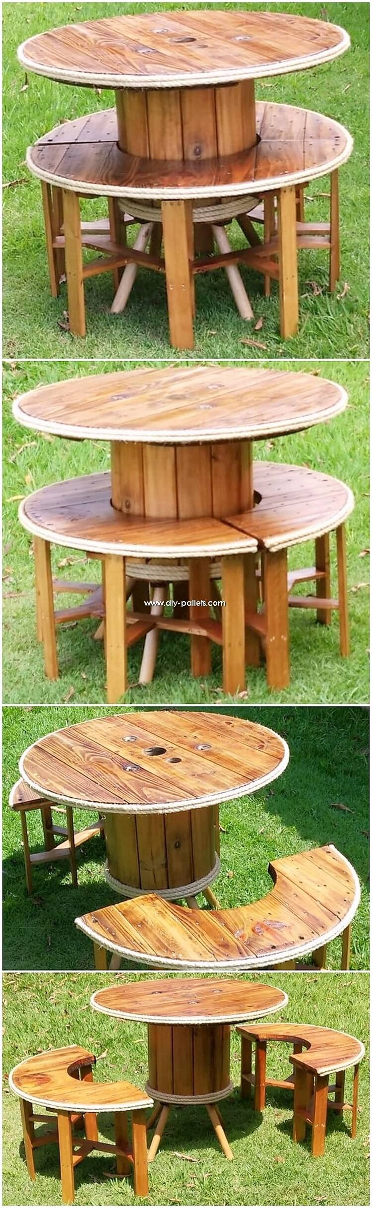 Round Top Pallet Table and Seats