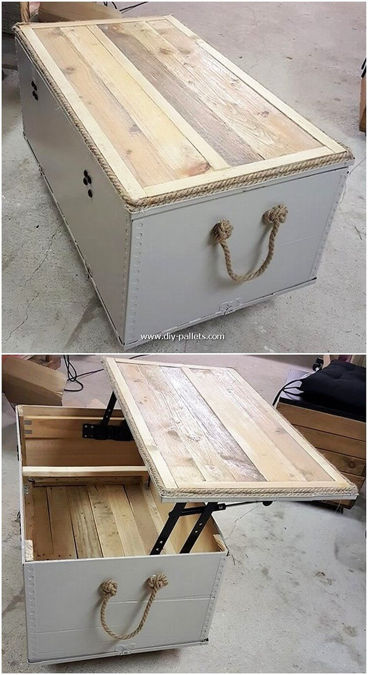 Lift Up Top Pallet Table with Storage