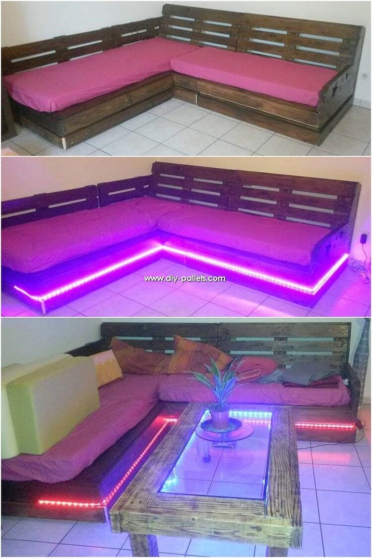 Pallet Couch with Lights and Table
