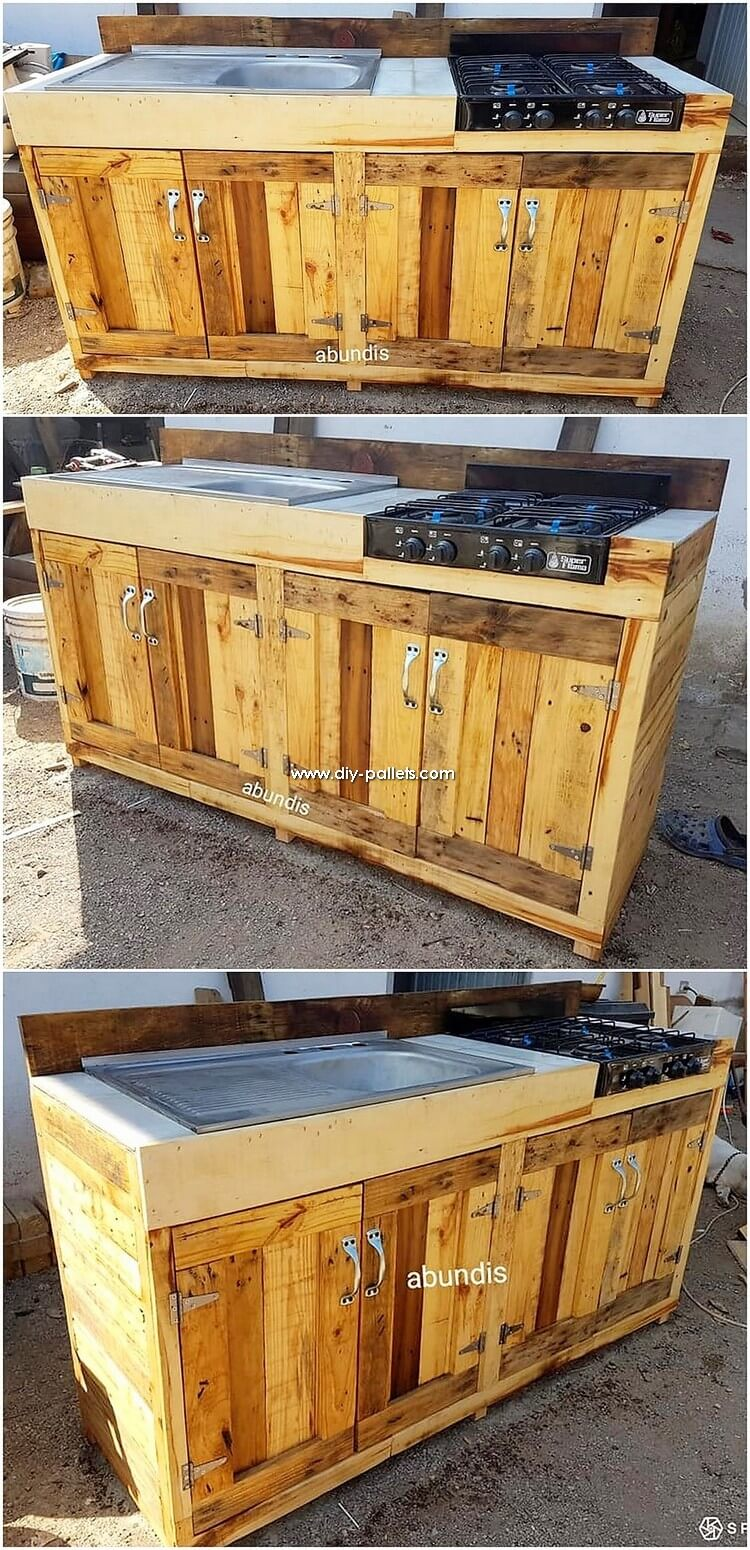 Pallet Sink with Kitchen Island Table