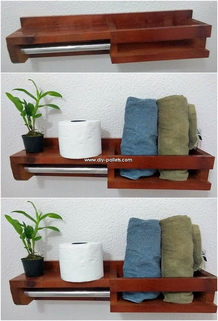 Pallet Towel Rack and Toilet Paper Roll Holder