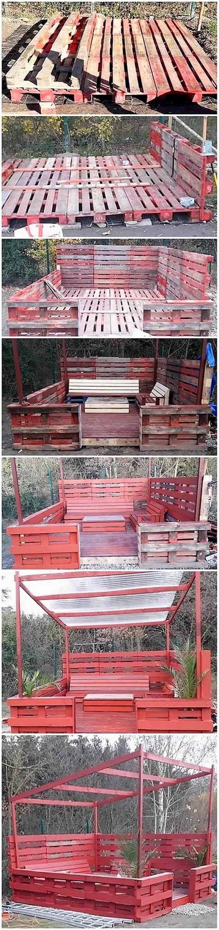 DIY Pallet Garden Terrace with Furniture