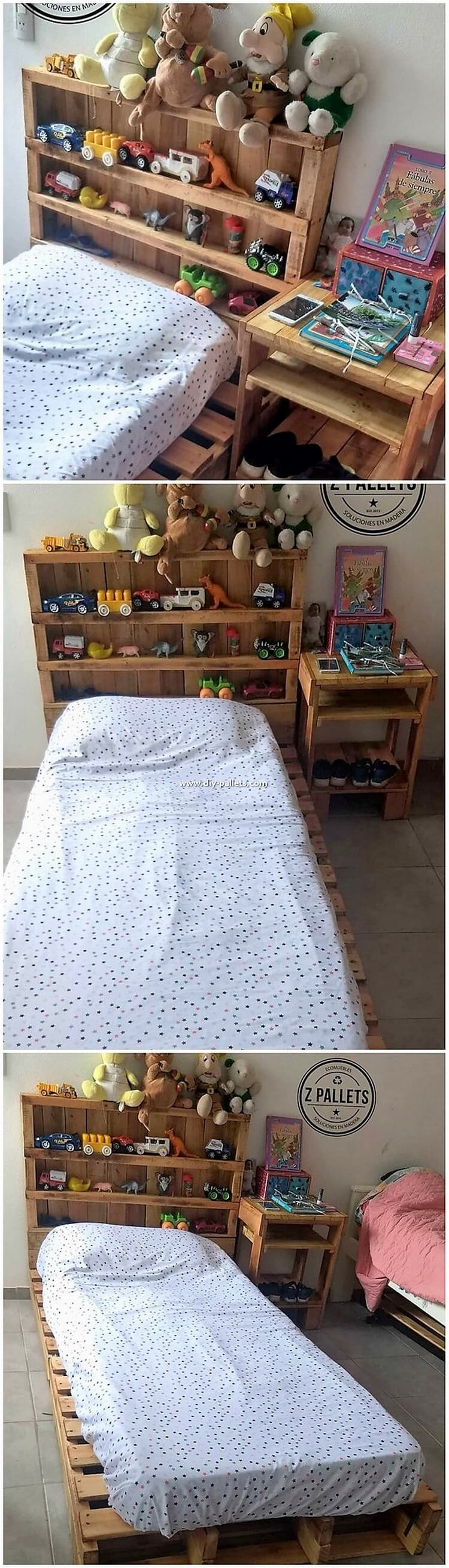 Pallet Bed and Headboard with Kids Toy Storage