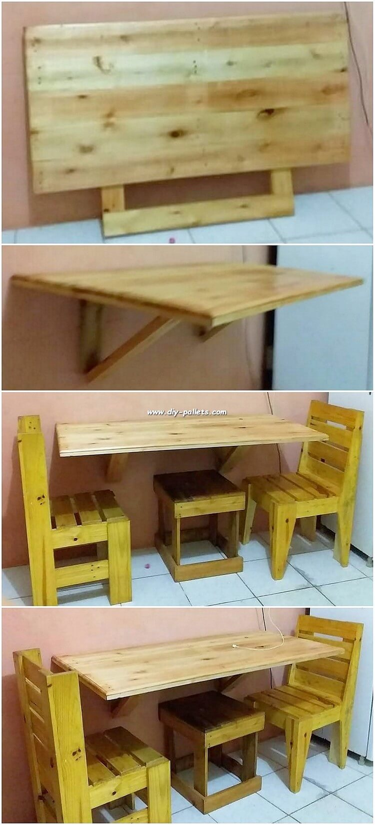 Pallet Folding Table and Chairs