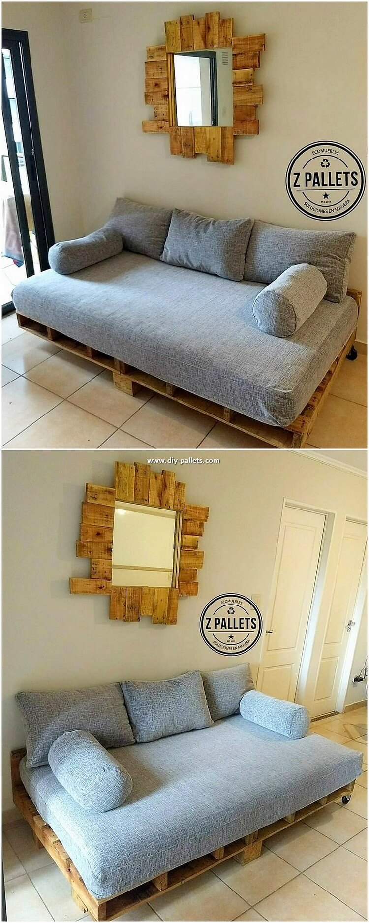 Pallet Mirror and Couch