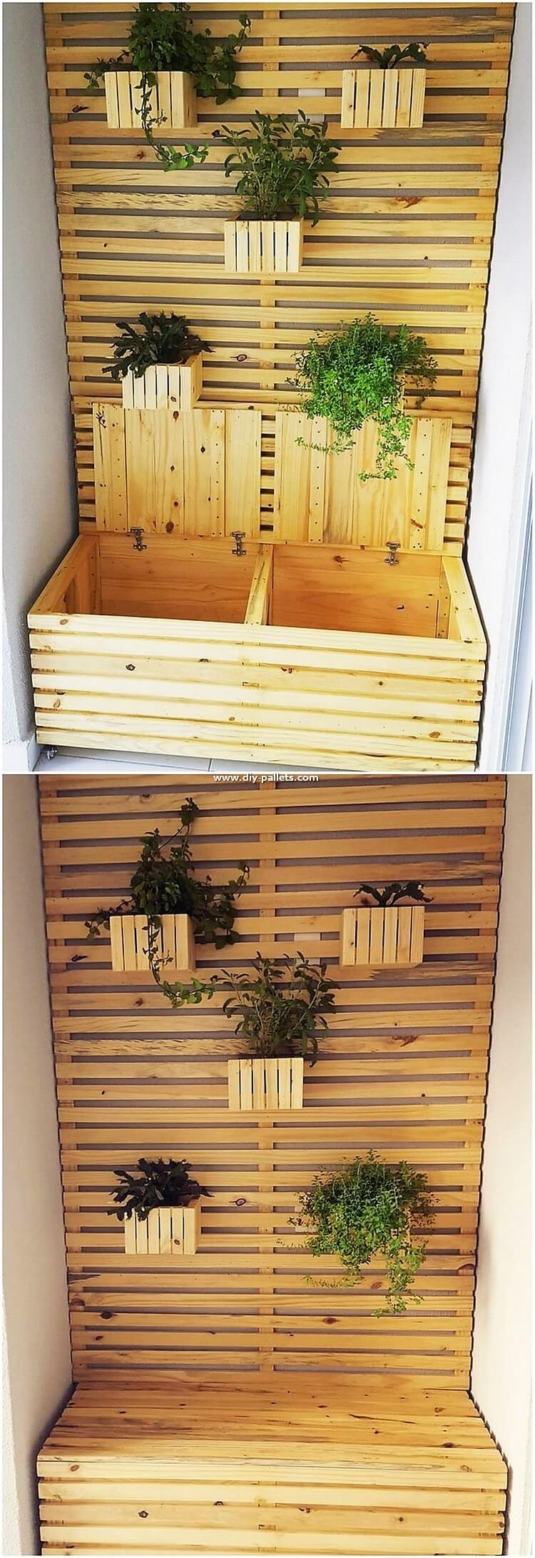 Pallet Planter with Storage Box
