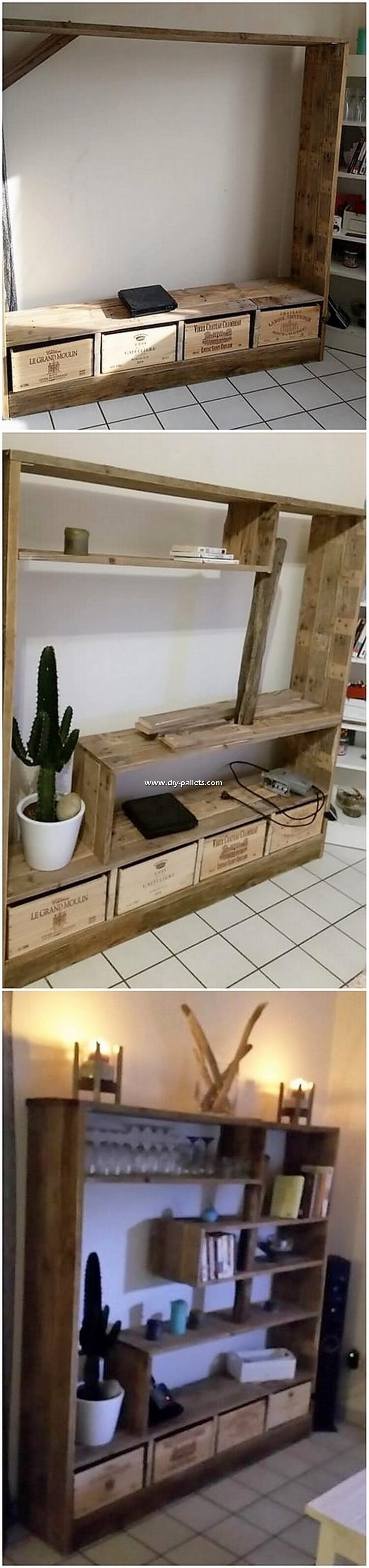 Pallet Shelving Unit with Drawers