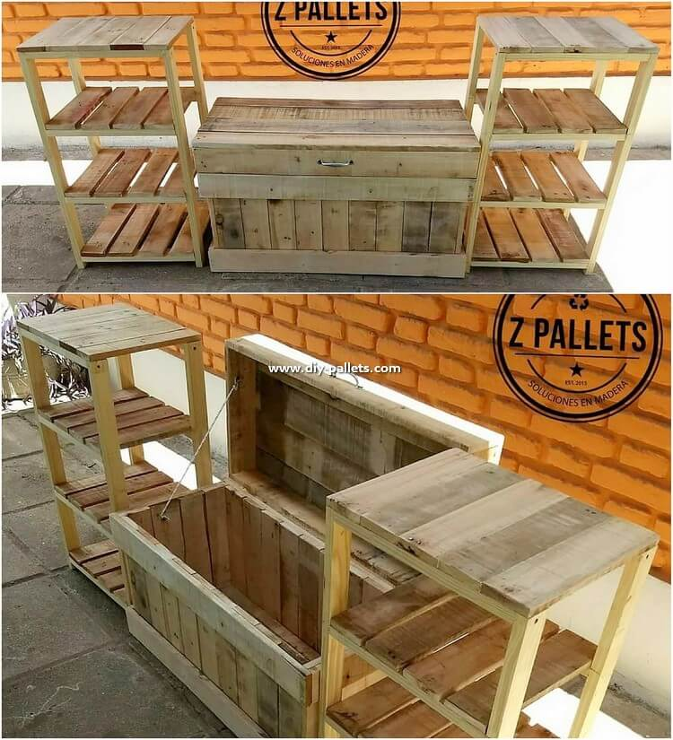 Pallet Storage Box with Side Tables