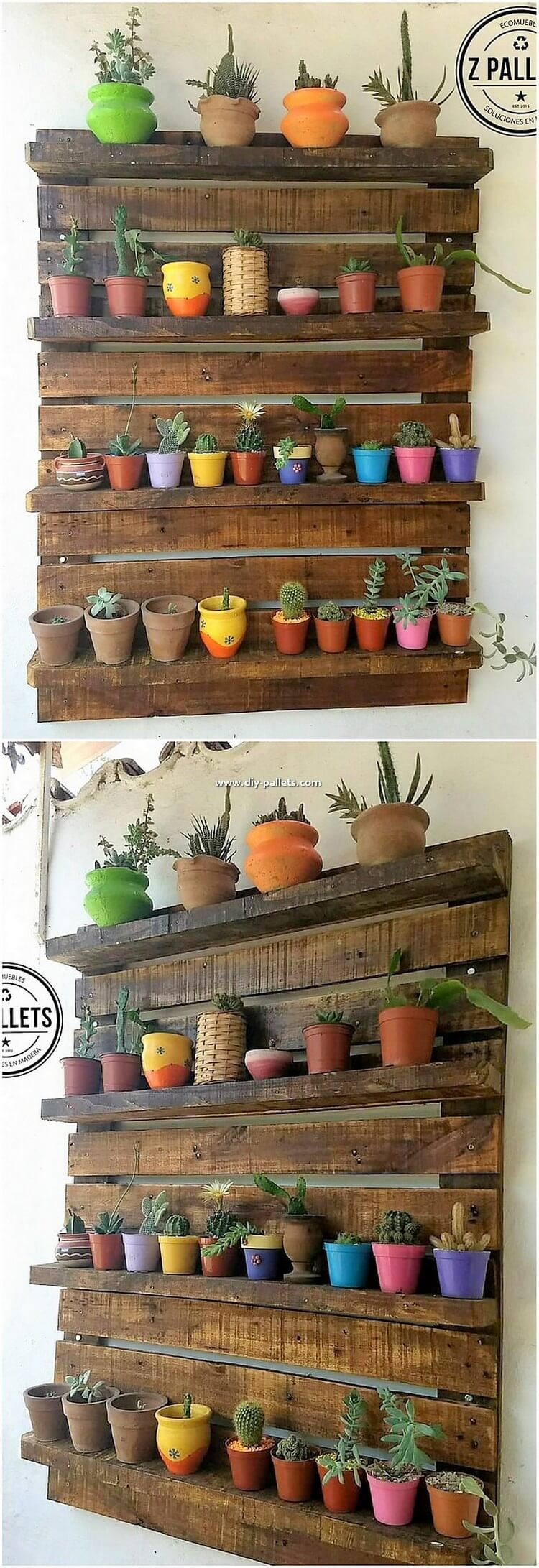 Pallet Wall Planter Pots Stand