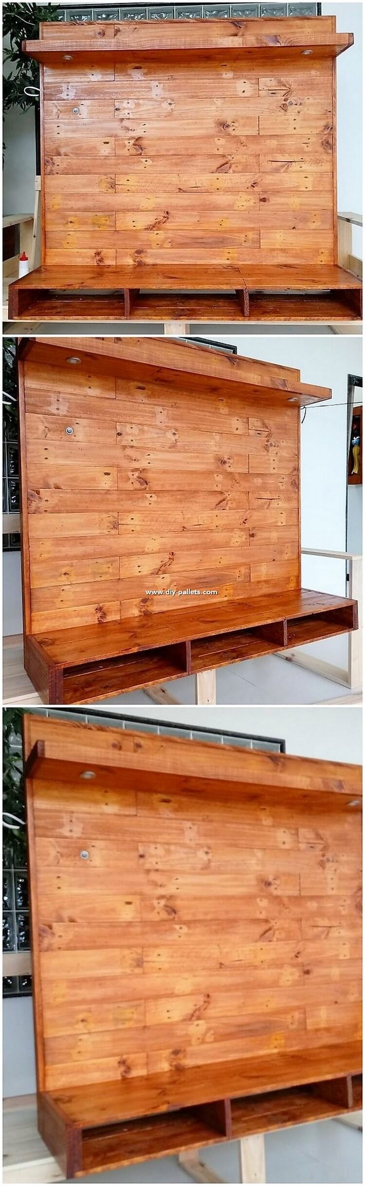 Wood Pallet Wall LED Holder