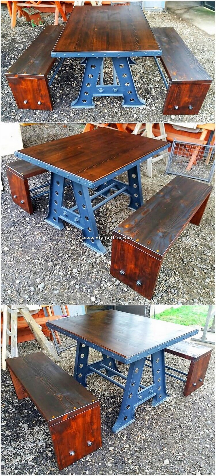 Wooden Pallet Benches and Table