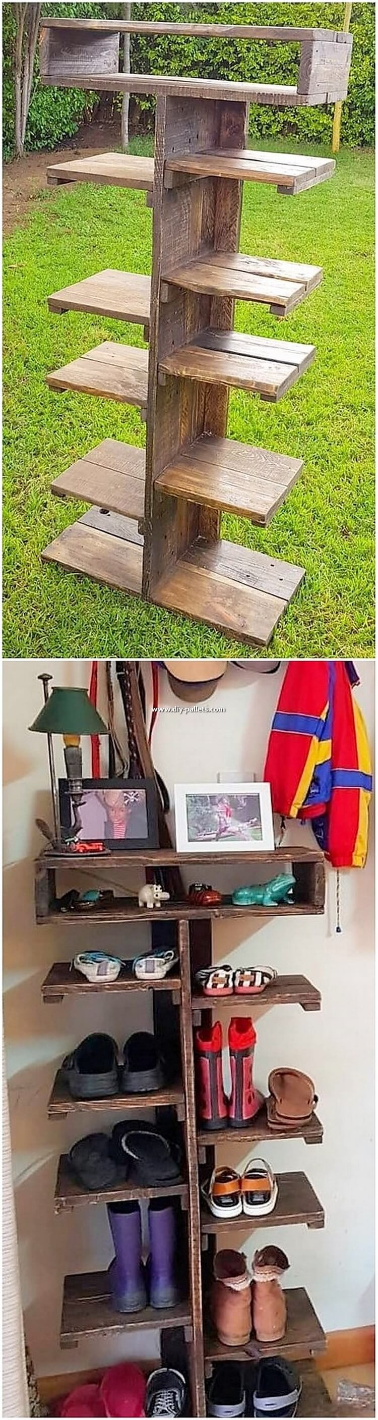 Wooden Pallet Shoe Rack