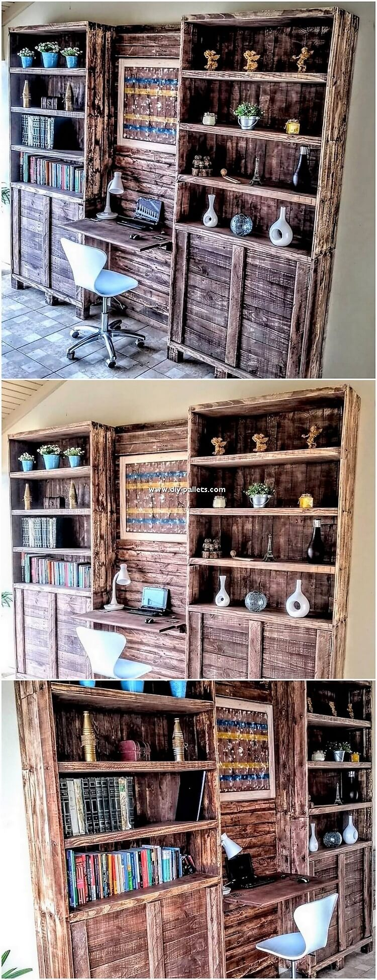 Pallet Cupboard with Bookshelving