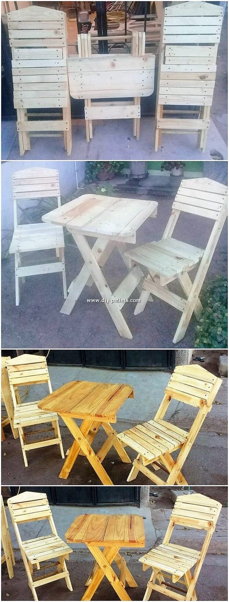 Pallet Folding Chairs and Table