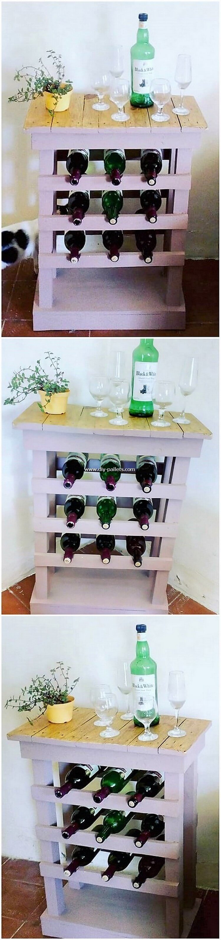 Pallet Table with Wine Rack