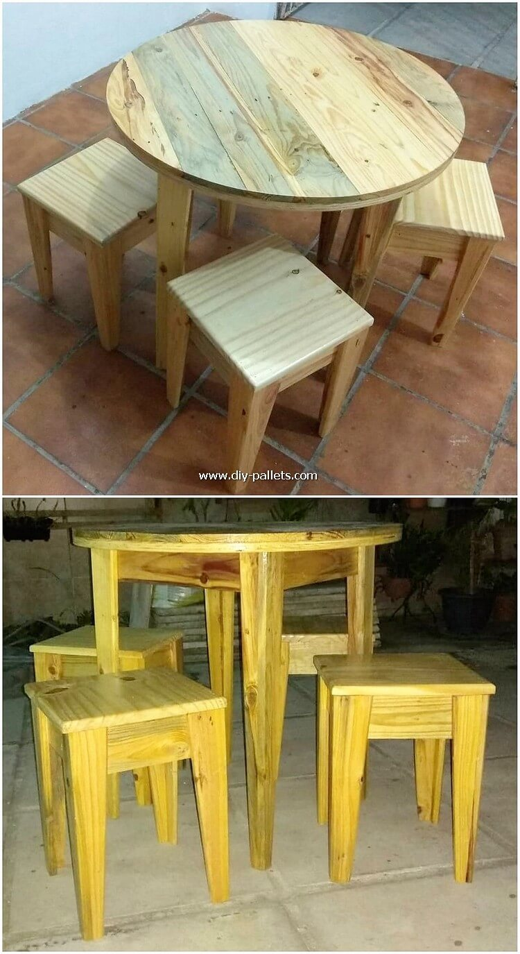 Round Top Pallet Table and Stools