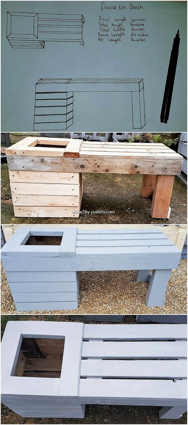 DIY Pallet Bench with Planter