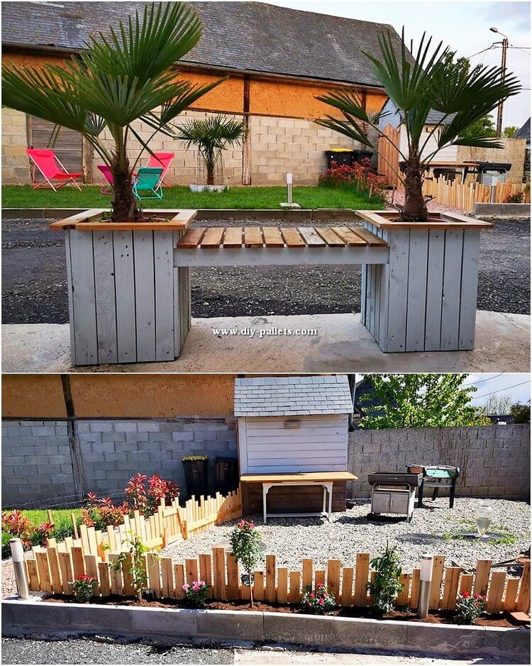 Pallet Bench with Side Planters