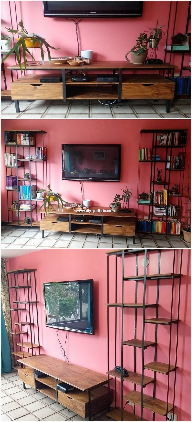 Pallet Media Cabinet and Shelving Unit