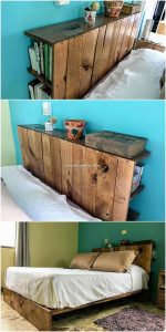 Pallet Bed Headboard with Book Storage