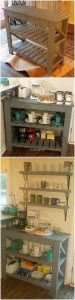 Pallet Shelving Table for Kitchen
