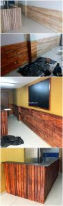 Pallet Wall Paneling and Counter Table