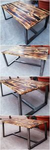 Pallet Table with Metal Frame