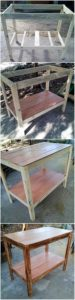 DIY Pallet Shelving Table