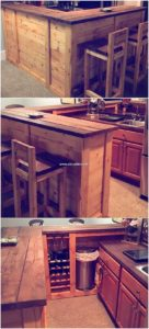 Pallet Kitchen Counter and Chairs