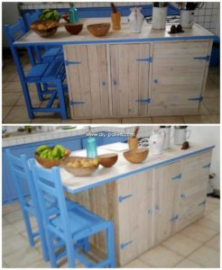 Pallet Kitchen Island Table and Chairs