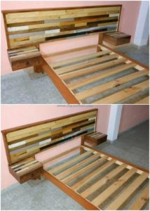 Pallet Bed and Headboard with Side Tables