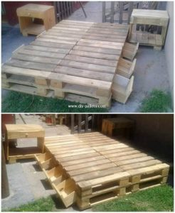 Pallet Bed with Drawers and Side Tables