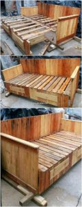 Pallet Bench with Storage Drawers
