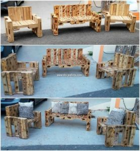 Pallet Outdoor Bench and Chairs