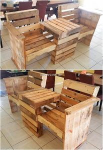 Pallet Attached Chairs and Center Table