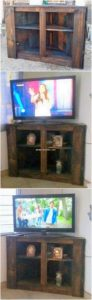 Pallet Corner TV Stand with Cabinet