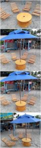 Pallet Outdoor Chairs and Round Top Table