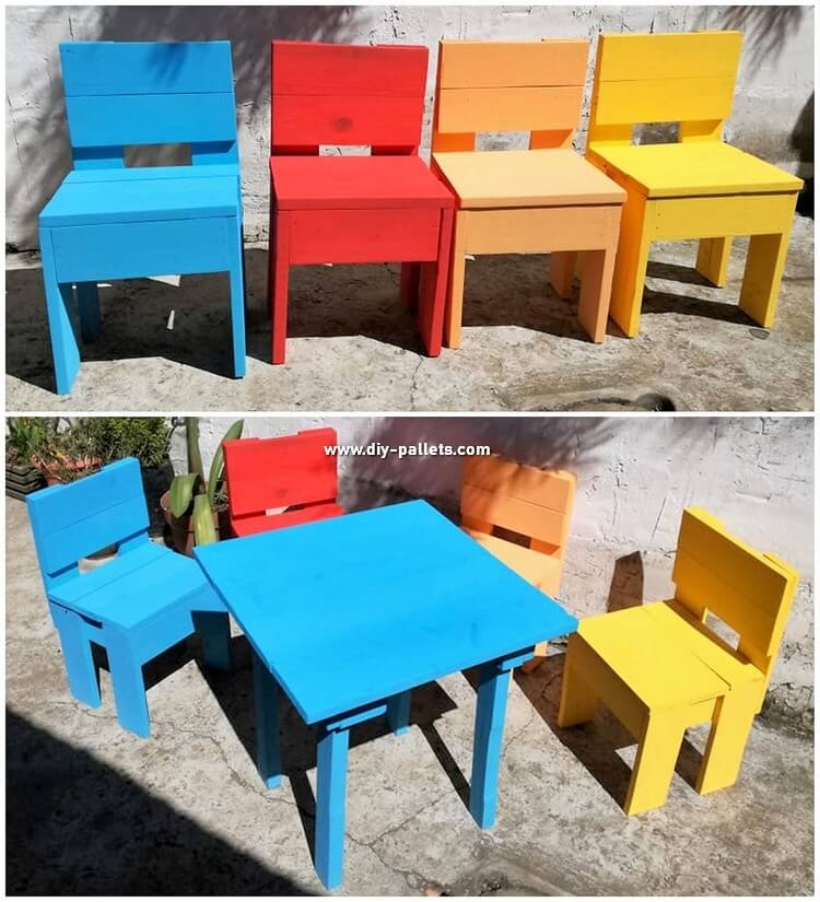 Colorful Pallet Chairs and Table