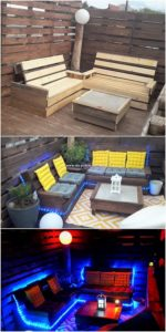 Pallet Benches and Table with Lights