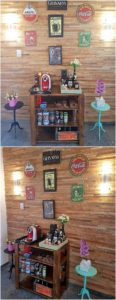 Pallet Shelving Table and Wall Paneling
