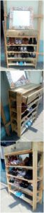 Pallet Shoe Rack with Drawer