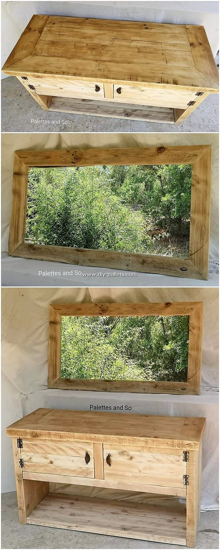 Pallet Mirror Frame and Dressing Table