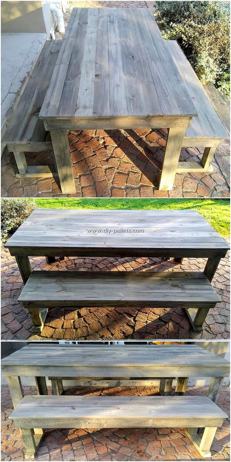Wooden Pallet Table and Benches