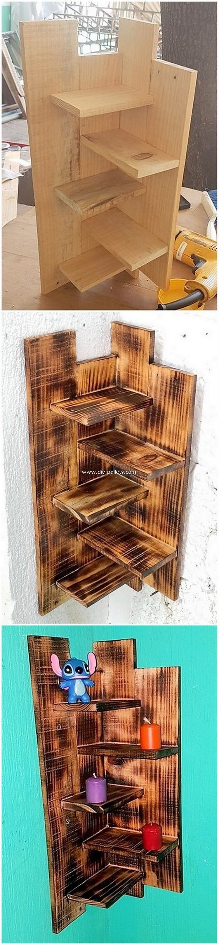 Pallet Corner Wall Shelf
