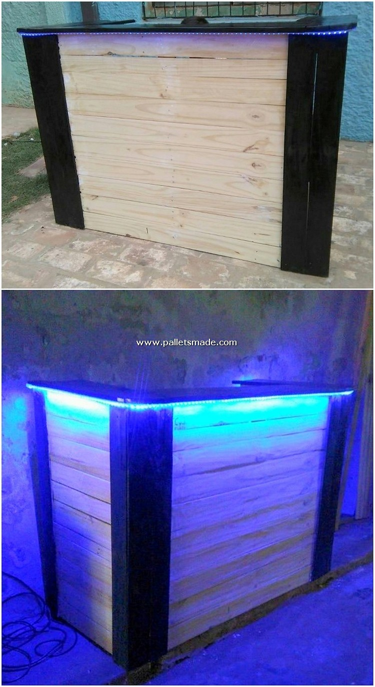 Pallet Counter Table with Lights