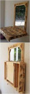 Pallet Mirror Frame with Folding Desk