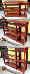 Pallet Shelving Table with Drawer